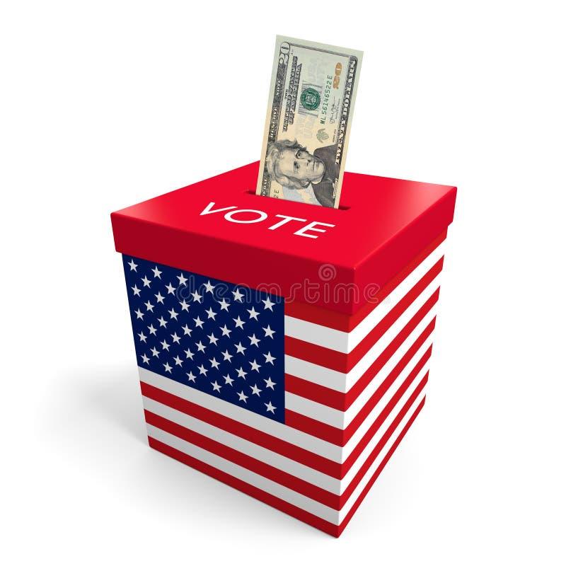 Corruzione e grandi soldi che incitano nella politica americana di elezione illustrazione di stock