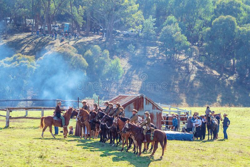 Re-Enactment Of Light Horse Brigade At The Man From Snowy River Bush Festival 2019 royalty free stock photos