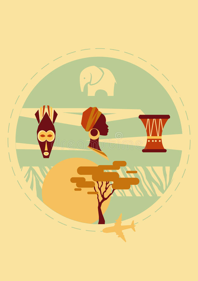 Corsa in Africa Copertura per l'opuscolo o cartolina, manifesto o autoadesivo Illustrazione di vettore immagini stock