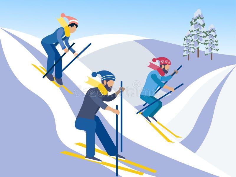 Corsa con gli sci Gli amici vanno gi? dalle montagne sugli sci Nello stile minimalista Quadro televisivo piano del fumetto illustrazione di stock