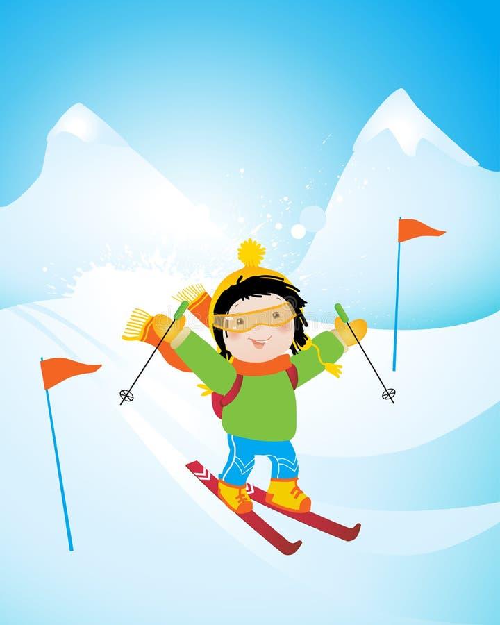 Download Corsa Con Gli Sci Del Bambino Illustrazione Vettoriale - Illustrazione di apparecchiatura, gioco: 7308568