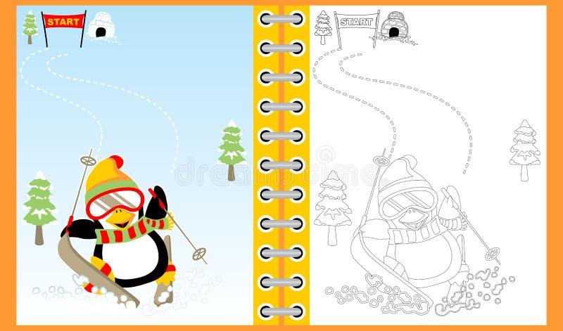 Corsa con gli sci del fumetto del pinguino sull'inverno, libro da colorare/pagina illustrazione vettoriale