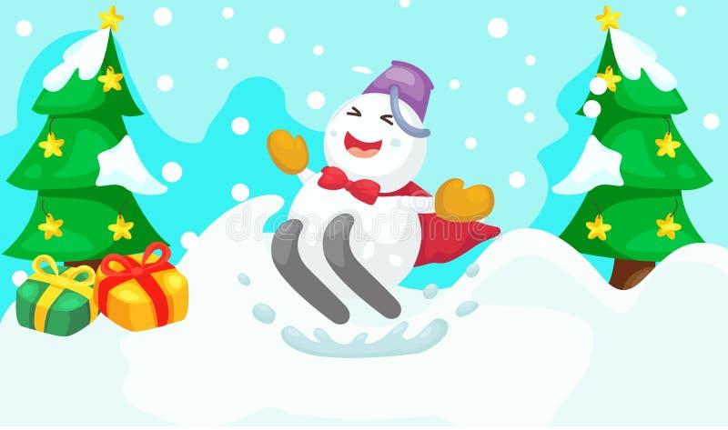 Corsa con gli sci del pupazzo di neve del fumetto illustrazione di stock