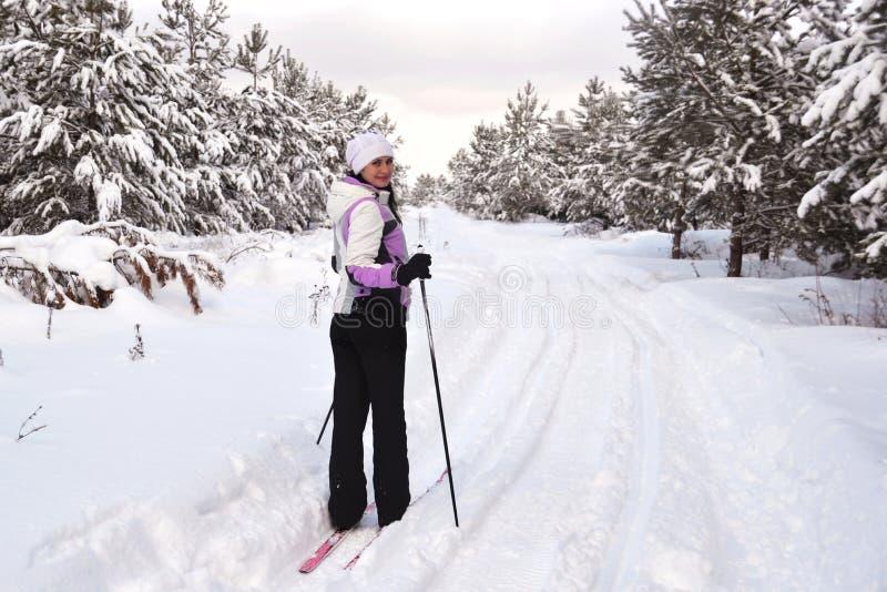 Corsa con gli sci della giovane donna nella foresta nevosa fotografia stock