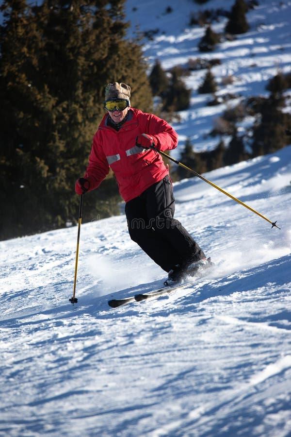Corsa con gli sci della montagna immagine stock