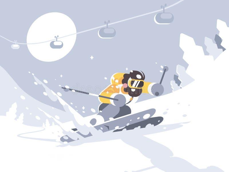 Corsa con gli sci dello sciatore nella stazione sciistica illustrazione di stock