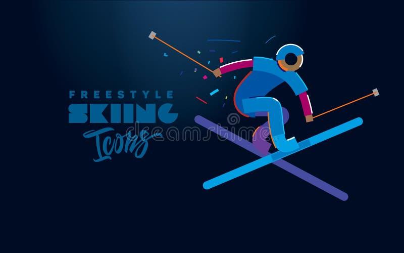 Corsa con gli sci di stile libero Icone di vettore illustrazione vettoriale