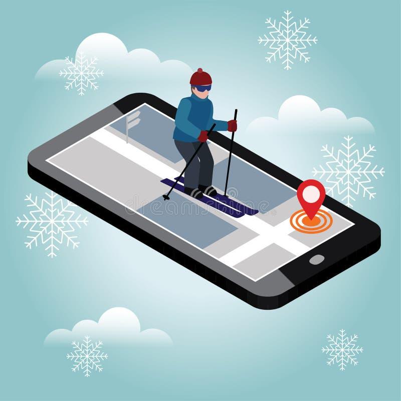 Corsa con gli sci isometrica dell'uomo Cercando lo sci di fondo in città Sport di inverno Navigazione mobile Giochi Olimpici royalty illustrazione gratis