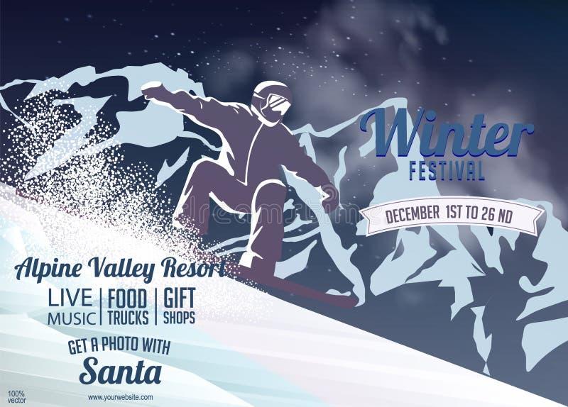 Corsa con gli sci o skateboarding in montagne Pendio dello sciatore sulla collina nevosa sul fondo della montagna illustrazione di stock