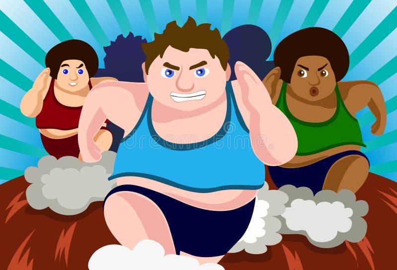Corsa contro grasso royalty illustrazione gratis
