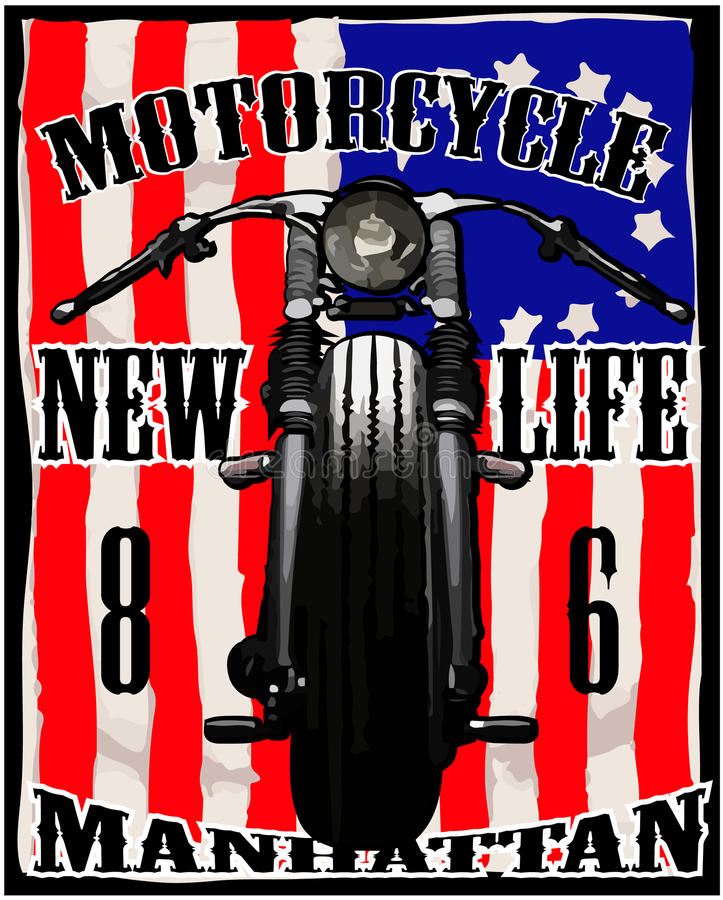 Corsa d'annata grafica della maglietta della bandiera americana del motociclo illustrazione vettoriale