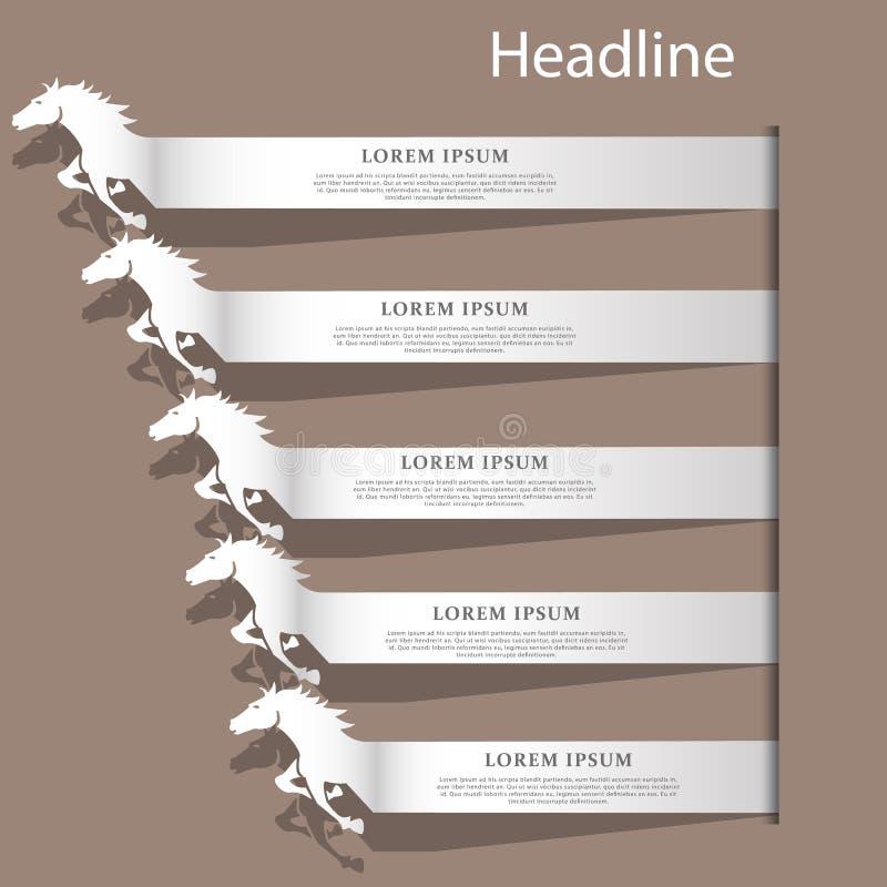 Corsa d'argento del testo del cavallo di colore illustrazione di stock