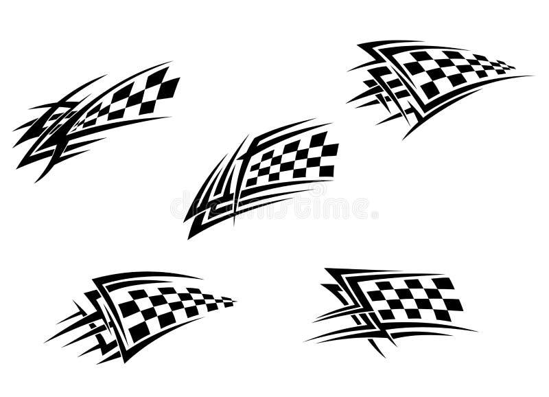 Corsa dei tatuaggi della bandierina illustrazione di stock