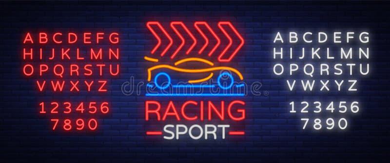 Corsa del modello al neon dell'emblema di logo di sport Un segno d'ardore sul tema delle corse Insegna al neon, insegna leggera V illustrazione di stock