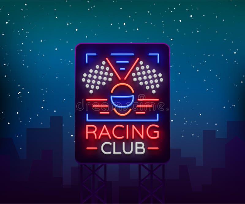 Corsa del modello al neon dell'emblema di logo del tabellone per le affissioni di sport Un segno d'ardore sul tema delle corse In illustrazione vettoriale
