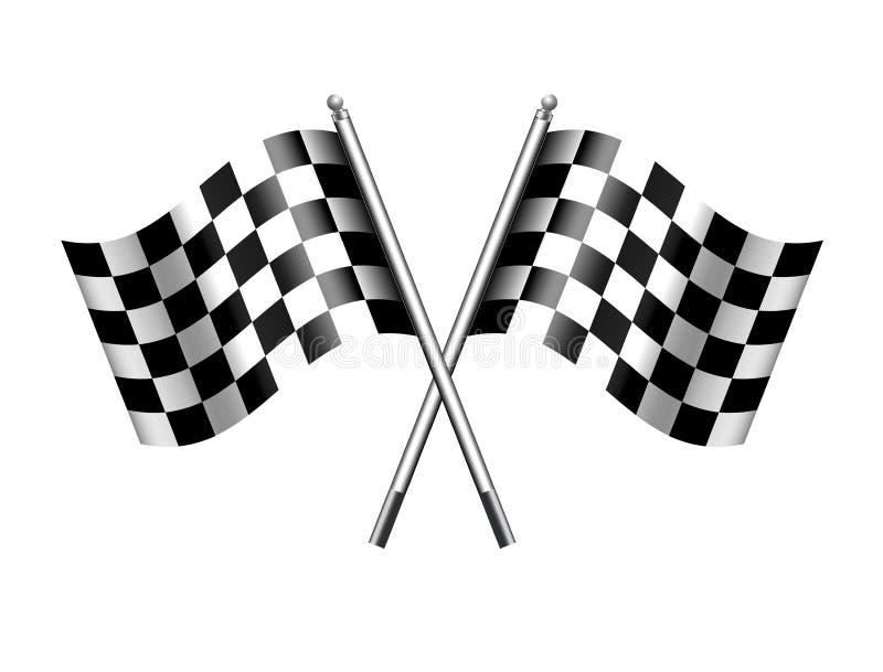 Corsa del motore delle bandiere striata sport a quadretti della bandiera illustrazione di stock