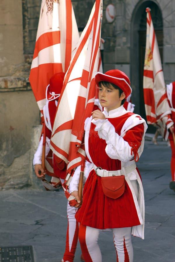 Corsa del Palio i Siena, Tuscany, Italien royaltyfria bilder