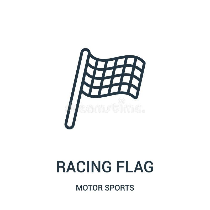 corsa del vettore dell'icona della bandiera dalla raccolta di sport di motore Linea sottile che corre l'illustrazione di vettore  illustrazione di stock