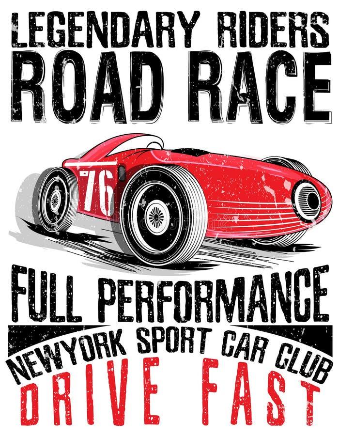 Corsa dell'automobile sportiva Automobile per stampare Manifesto della corsa della vecchia scuola di vettore royalty illustrazione gratis