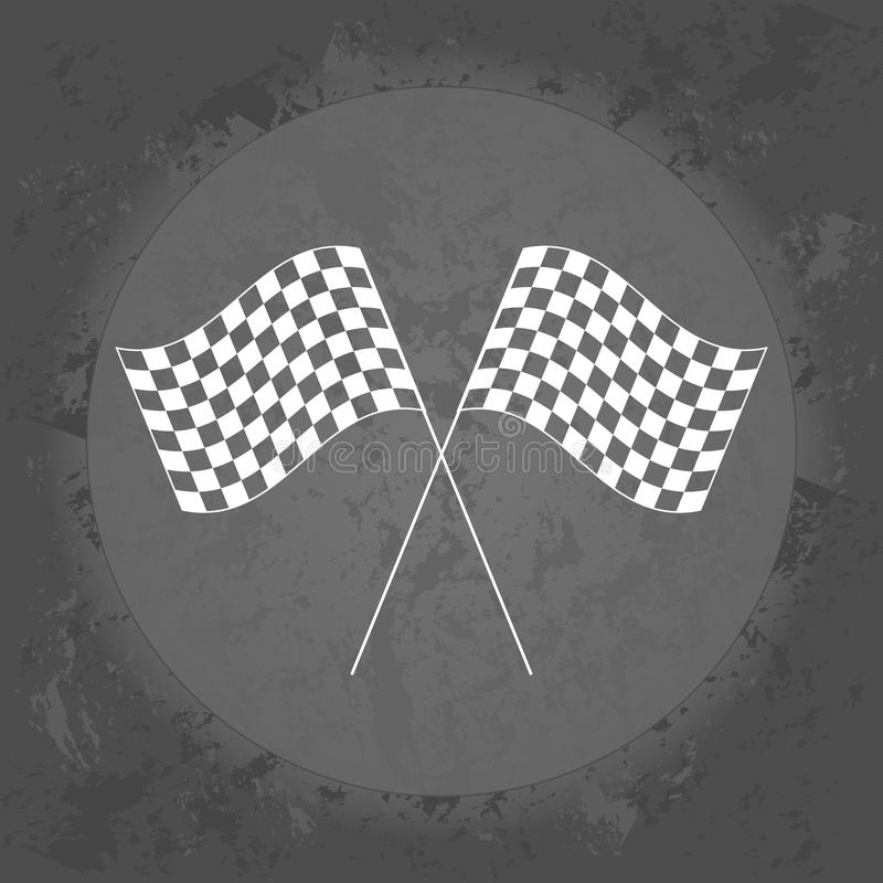 Corsa dell'icona delle bandiere su fondo d'annata grigio illustrazione di stock