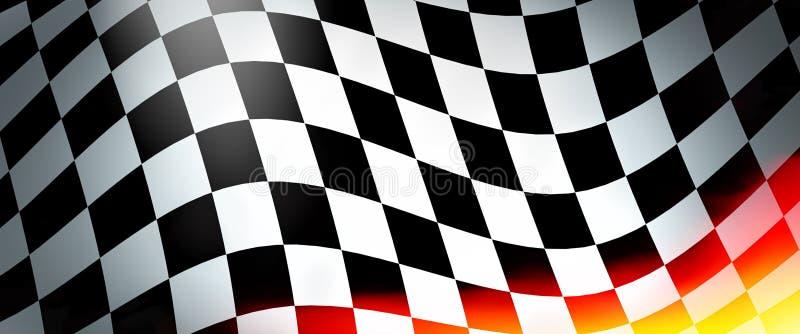 Corsa della bandiera con le fiamme illustrazione di stock