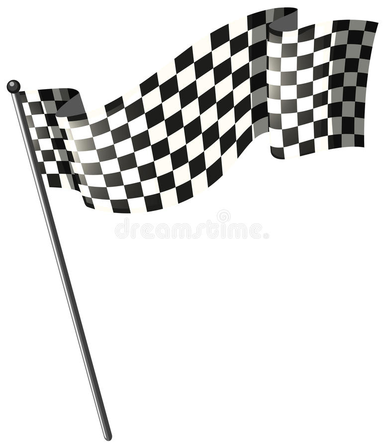 Corsa della bandiera sul palo nero illustrazione vettoriale