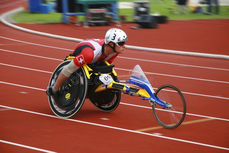 Corsa della sedia a rotelle fotografia stock