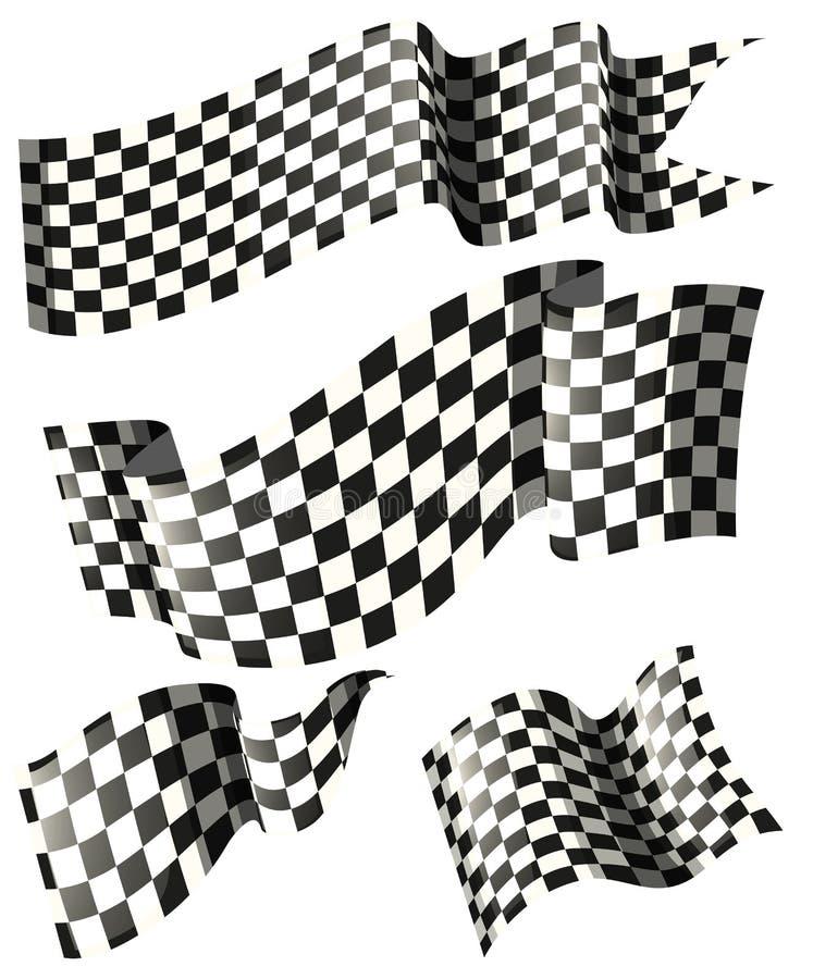 Corsa delle bandiere negli stili differenti illustrazione vettoriale