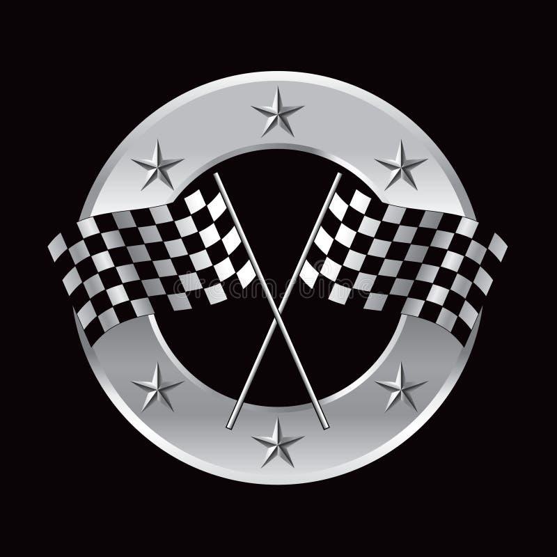 Corsa delle bandierine nel telaio d'argento circolare della stella illustrazione di stock
