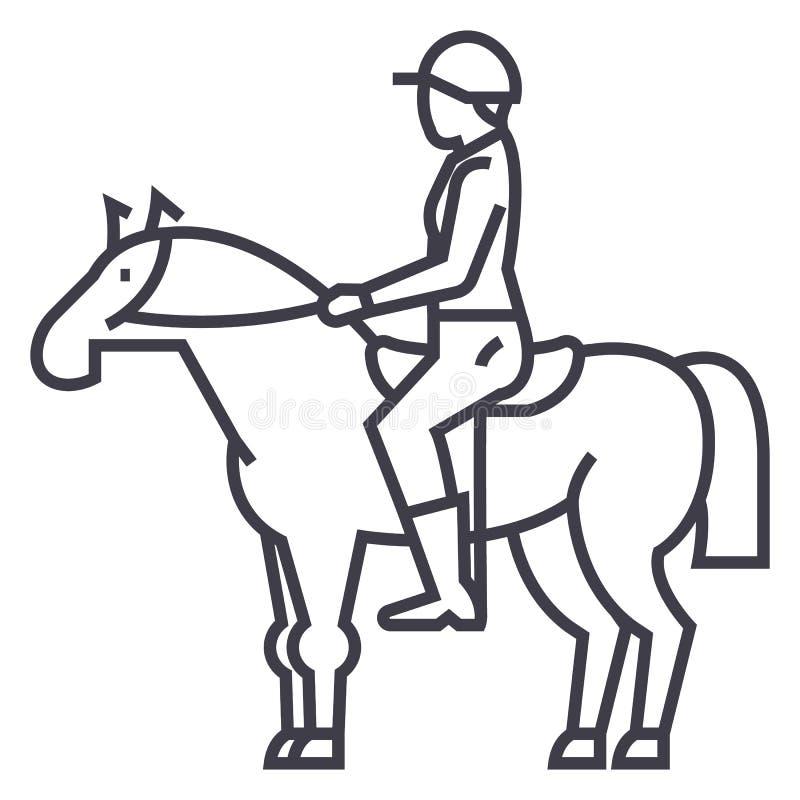 Corsa di cavalli, cavaliere, cavallerizzo, linea icona, segno, illustrazione di vettore della puleggia tenditrice su fondo, colpi illustrazione vettoriale