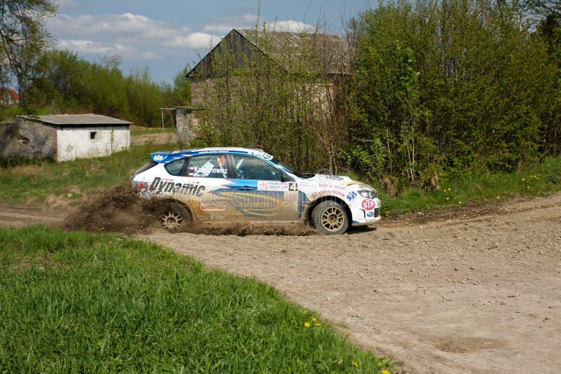 Corsa di Subaru Impreza WRC immagini stock libere da diritti