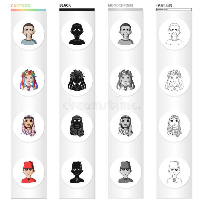 Corsa differente di mongoloide, europeo, ucranino, Turco, arabo Le icone stabilite della raccolta della razza umana nel fumetto a royalty illustrazione gratis