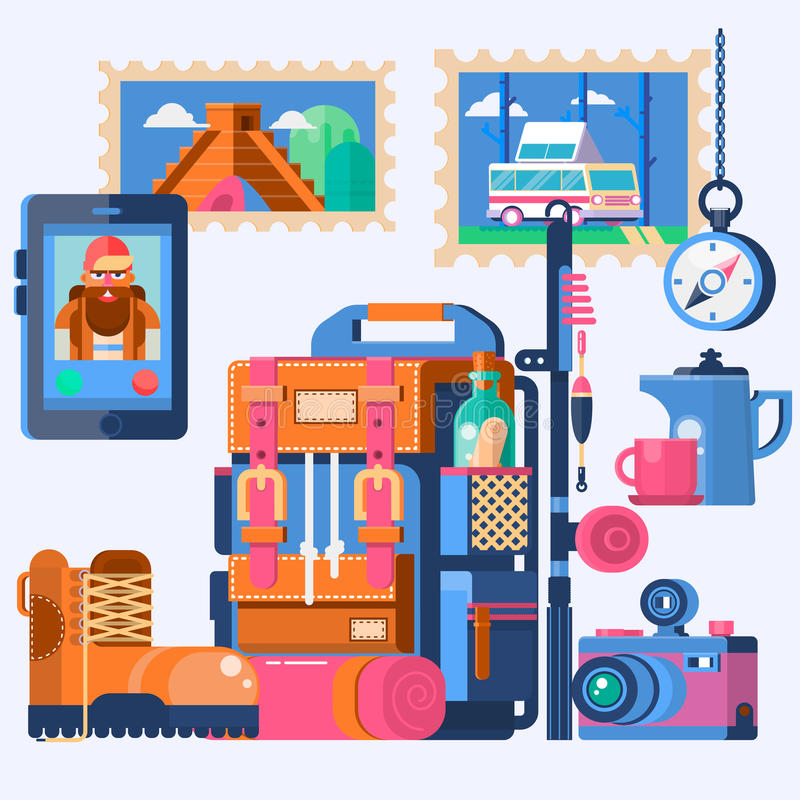 Corsa intorno al mondo Avventuri lo zaino con gli oggetti del viaggiatore nel telaio rotondo Illustrazione di vettore illustrazione vettoriale