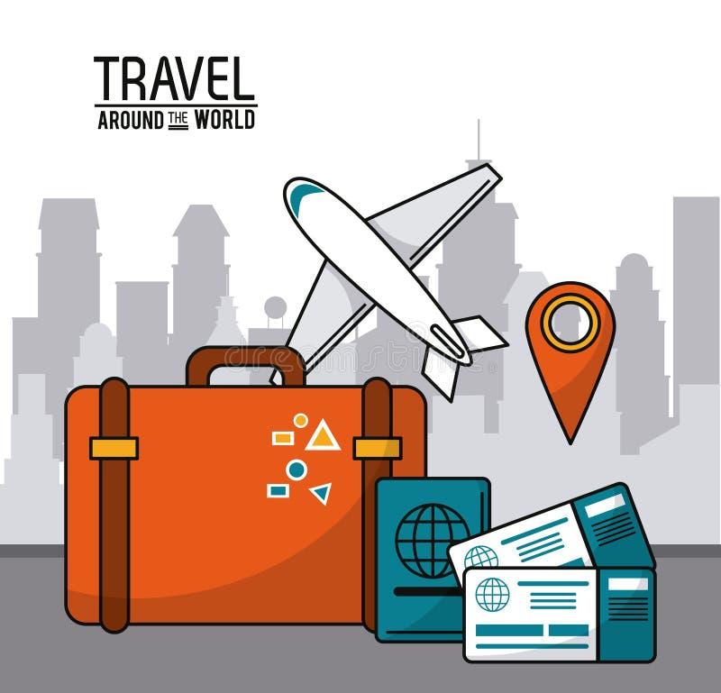 Corsa intorno al mondo internazionale della mappa del perno del passaporto del biglietto aereo illustrazione vettoriale