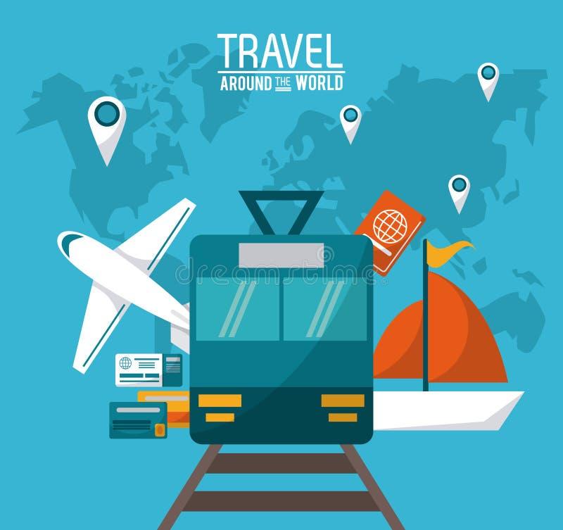 Corsa intorno al mondo passaporto dei veicoli di trasporto e mondo della mappa del perno illustrazione di stock