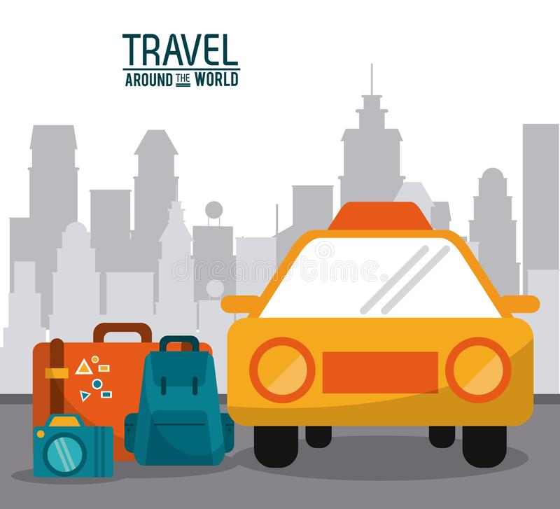 Corsa intorno al mondo rulli la macchina fotografica della foto dei bagagli dell'automobile con il fondo della città illustrazione di stock