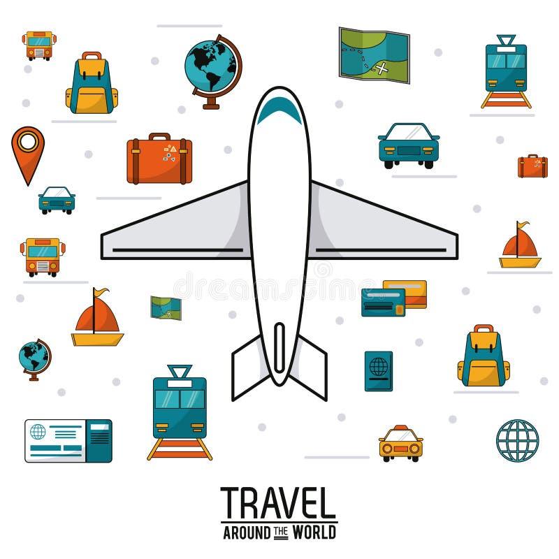 Corsa intorno al mondo soldi della mappa dei bagagli di trasporto dei veicoli dell'aeroplano illustrazione vettoriale