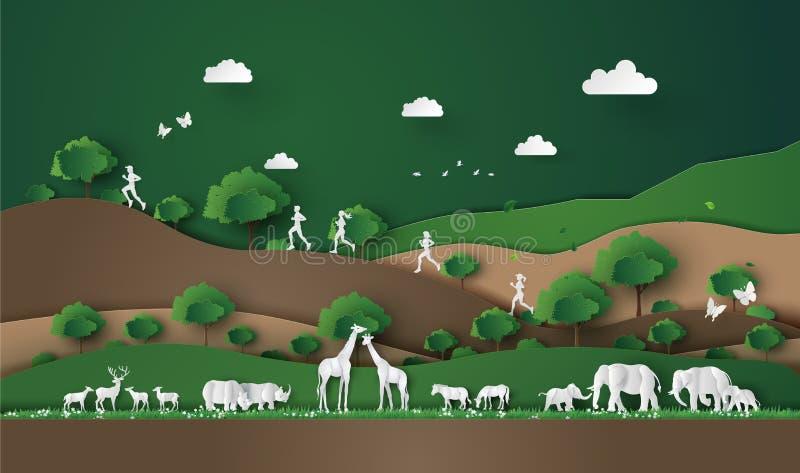 Corsa nella giungla royalty illustrazione gratis