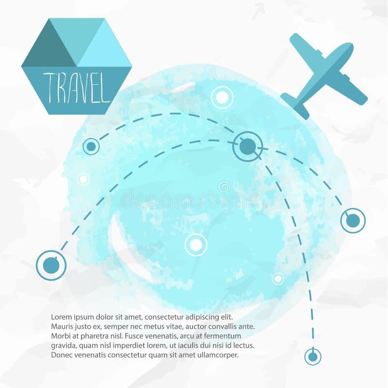 Corsa in Plane Aeroplano sui suoi itinerari della destinazione illustrazione vettoriale