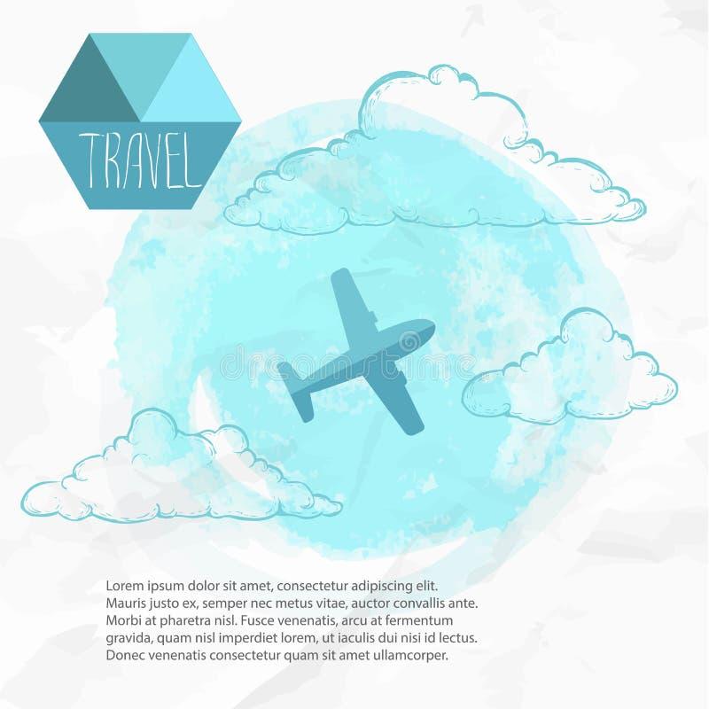 Corsa in Plane Fondo blu dell'acquerello ed aeroplano piano di stile illustrazione vettoriale