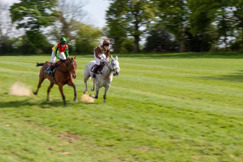 Corsa punto a punto a Godstone Surrey il 2 maggio 2009 Due genti non identificate fotografia stock libera da diritti