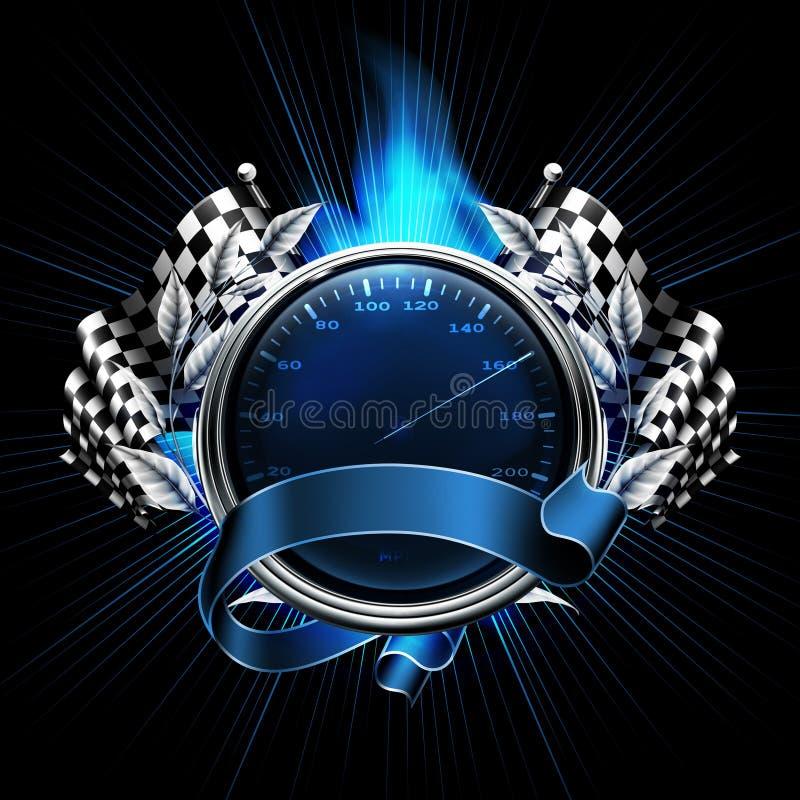 Corse blu dell'emblema royalty illustrazione gratis