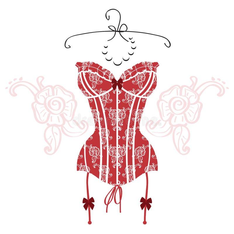 Corsetto d'annata rosso sexy del ` s di signora royalty illustrazione gratis