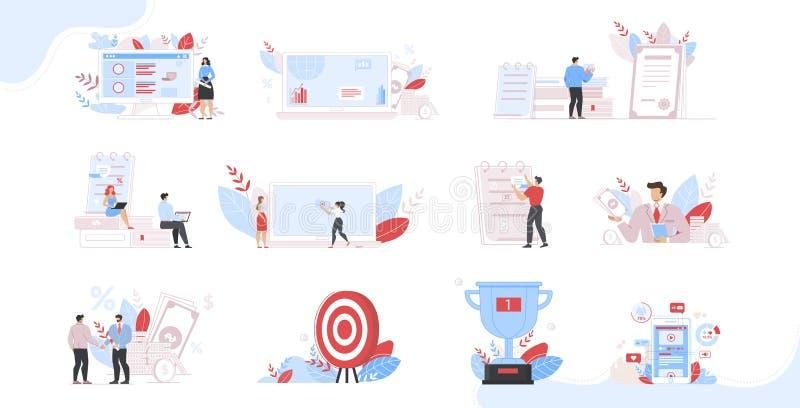 Corsi aziendali e programmi di consulenza Set di persone illustrazione vettoriale