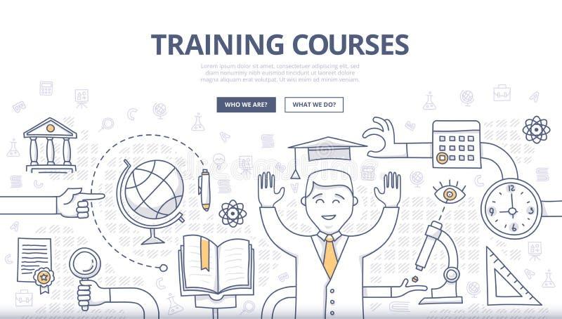 Corsi di formazione e concetto di scarabocchio di istruzione royalty illustrazione gratis