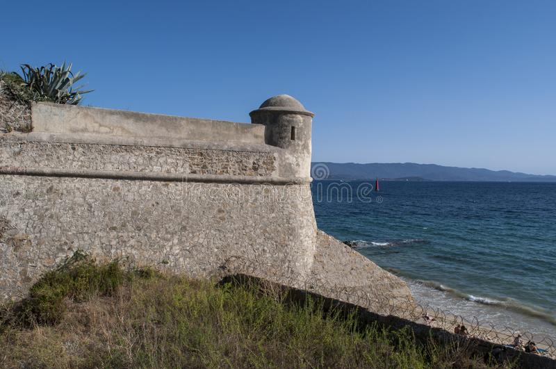 Ajaccio, beach, Corsica, Corse du Sud, Southern Corsica, France, Europe. Corsica, 01/09/2017: the ancient walls of the 15th century Citadel of Ajaccio, an stock image