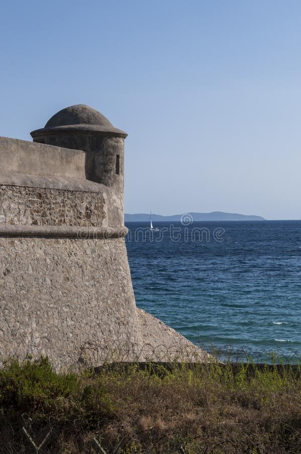 Ajaccio, beach, Corsica, Corse du Sud, Southern Corsica, France, Europe. Corsica, 01/09/2017: the ancient walls of the 15th century Citadel of Ajaccio, an royalty free stock image