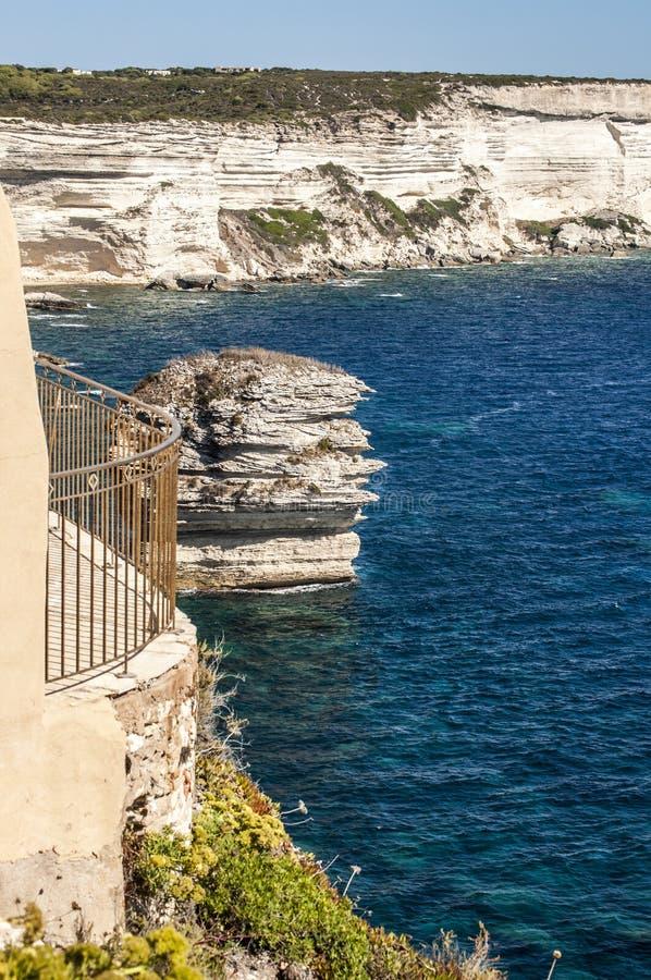 Bonifacio, Corsica, Corse, Corse-du-Sud, south, France, Europe, island. Corsica, 05/09/2017: a balcony with view of the white limestone cliffs of Bonifacio at stock photo