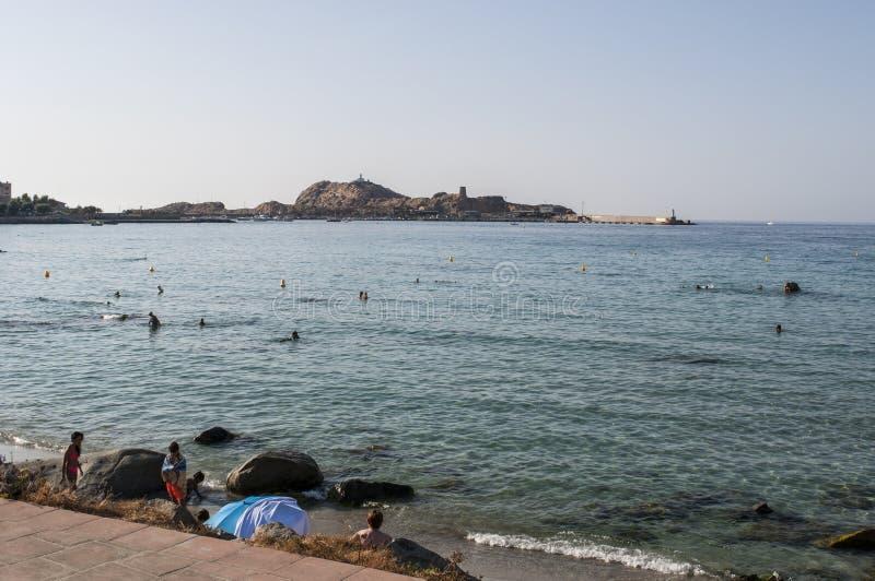 Ile de la Pietra, Stone Island, Ile-Rousse, Red Island, Corsica, Upper Corsica, France, Europe, island stock image