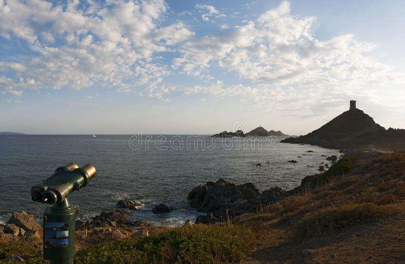 Iles Sanguinaires, Gulf of Ajaccio, Corsica, Corse, France, Europe, island. Corsica, 01/09/2017: binoculars pointed on La Parata Tower, a ruined Genoese tower stock photo